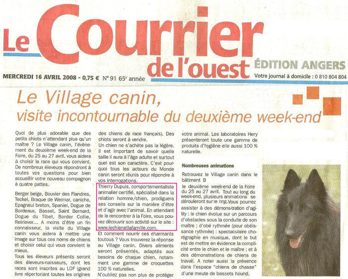article Courrier de l'Ouest : Village Canin